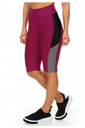 l0017 12 01 bermuda esportiva linha esportiva fitness plus size feminina rosa bordo vinho ilhas rio recorte moderno minimalista